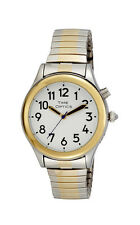 TimeOptics Women's Talking Two-Tone Day Date Alarm Expansion Bracelet Watch