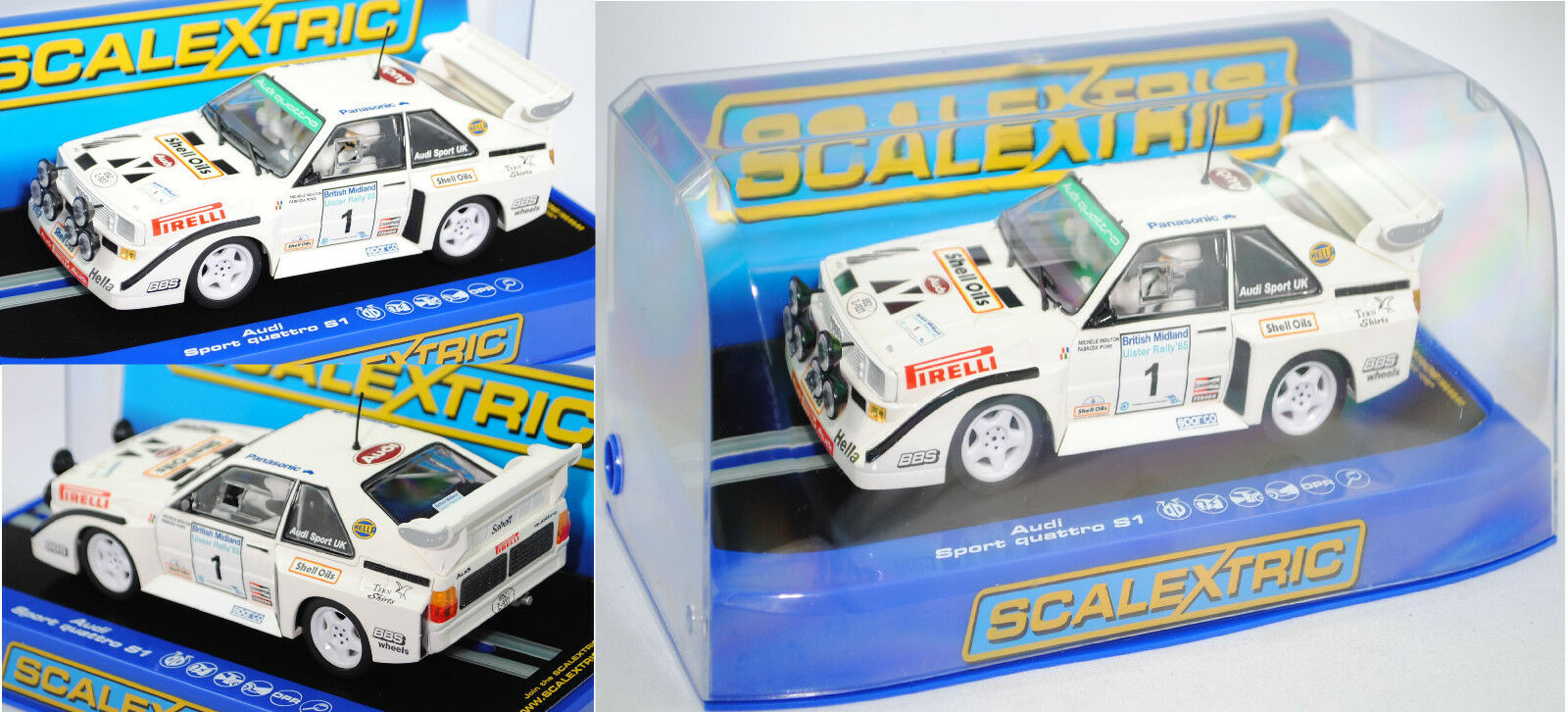 SCALEXTRIC C3487 Audi Audi Audi Sport Quattro S1 E2 Gruppe B Rallye UlsterMouton Pons 1 32 d3e4e3