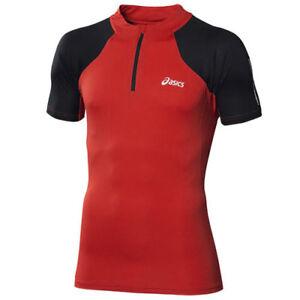 Asics-Manica-Corta-1-2-Zip-T-Shirt-Uomo-Corsa-Superiore-Rosso-113195-0951-A7B