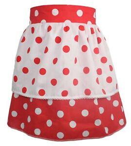 Ladies-1950-039-s-Style-Red-Polka-Dot-Pinafore-With-White-Polka-Dot-Apron-One-Size