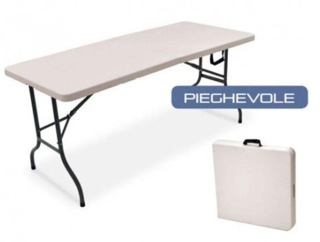 Tavolo pieghevole campeggio - catering piano polietilene 120x60 cm trasportabile