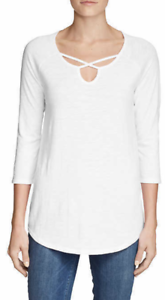 Eddie-Bauer-Women-039-s-White-Gate-Check-3-4-Sleeve-Cross-Front-Tunic