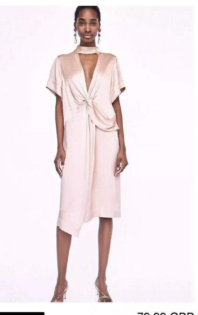 1d047ebb Zara Pink bluesh Knotted Front Flowing Midi Dress Size L BNWT RRP .99