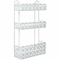 Mygift Decorative White Wall Mounted 3 Tier Shelf Baskets / Kitchen Spice Rack / on sale