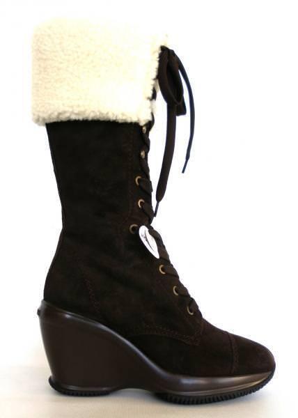 HOGAN WOMEN'S HXW139099306024895 BROWN SUEDE BOOTS And SHEEPSKIN COAT