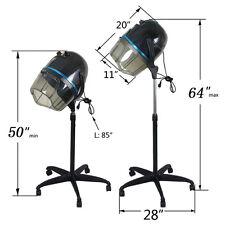 Adjustable Stand Up Hood Floor Hair Bonnet Dryer Rolling Base Salon Wheels Black