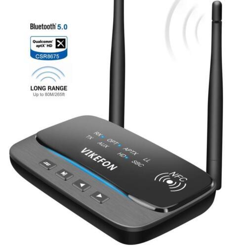 Bluetooth V5.0 Transmitter Receiver 265FT//80M Long Range 3 in 1 Audio Adapter