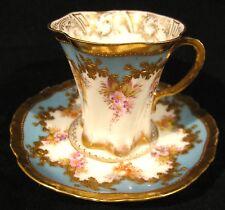 Exquisite Antique Donath Co Dresden Cabinet Demitasse Cup & Saucer Gold & Floral
