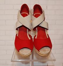 Women's Gap Wedge Sandal Red Beige Strappy Women's Sz. 10 Gorgeous ✨