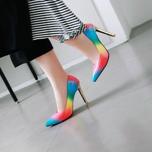 Women/'s Rainbow Color Slim Talons Hauts Bout Pointu Escarpins Party Chaussures à Enfiler Chaude