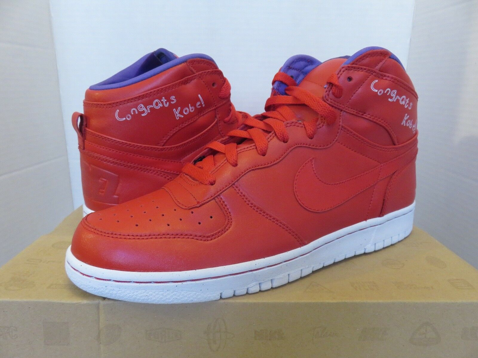BIG NIKE HIGH QK QS Kobe Dunk Lil Dez MVP Red/Purple Size 10 DS 370428 600