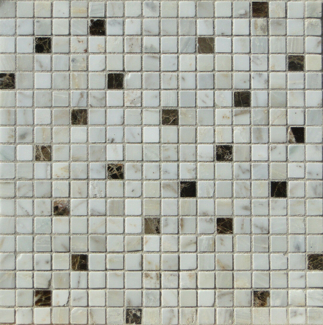 1qm Marmormosaik Mosaikfliese weiß braun 30x30x0,8cm, 1,5x1,5, AKTION