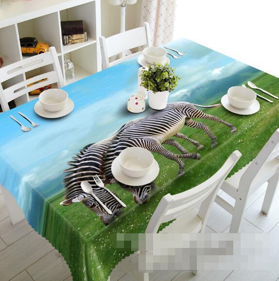 3D Zebra Sky 5 Tablecloth Table Cover Cloth Birthday Party Event AJ WALLPAPER AU