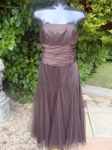 MONSOON MACIE BROWN STRAPLESS DRESS SIZE 10 WEDDING PROM PARTY BNWT