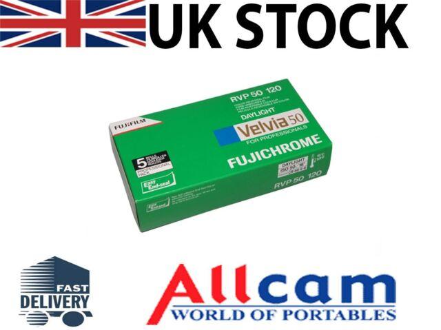 5 Pack: Fuji Velvia 50 RVP ISO 50 Size 120 Color Slide Film, New
