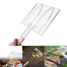 Barbecue Meat Burger Fish Long Handle Holder Grill Rack Basket Folding Stand New