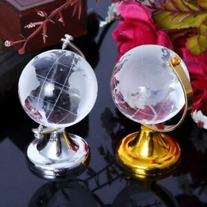 Mini-Round-Earth-Globe-World-Map-Crystal-Glass-Clear-Stand-Desk-Decor-Gifts