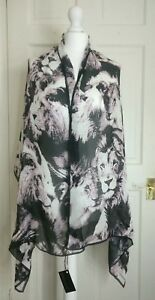 cheaper 88cfa 141b0 Details about Roberto Cavalli Bnwt 100 % Silk Scarf Lion Print Women Stole  Designer Luxe Gift