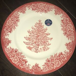 4-Royal-Stafford-Christmas-Tree-Red-Holidays-Dinner-Plates-11-in-New