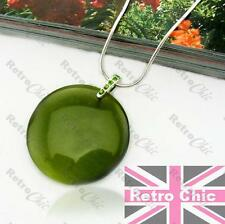 RETRO ROUND DISC olive/silver GREEN GLASS pendant NECKLACE crystal SNAKE CHAIN