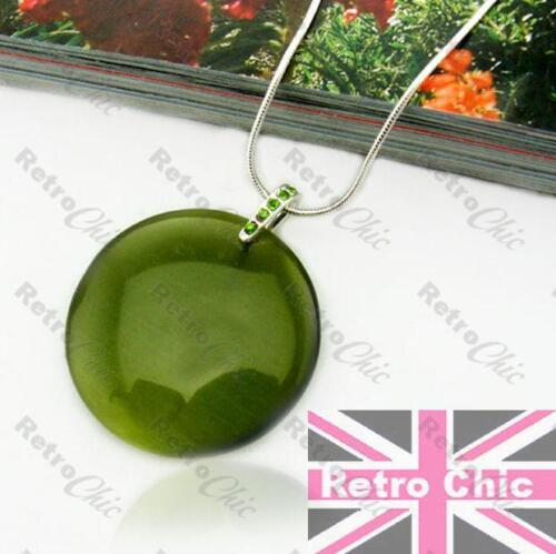 RETRO ROUND DISC olive//silver GREEN GLASS pendant NECKLACE crystal SNAKE CHAIN