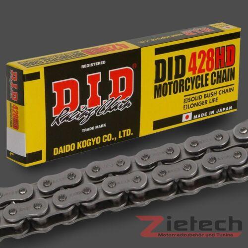 Clipschloss Standard 428 HD 82 Glieder Stahlfarben DID Motorrad Kette Offen