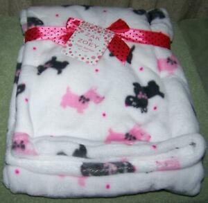 Zak And Zoey White With Pink Amp Black Terriers Blanket 30