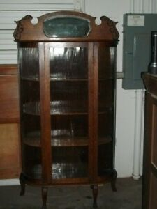 Exceptionnel Details About American 1920u0027s Oak China Cabinet With Bow Glass Sides