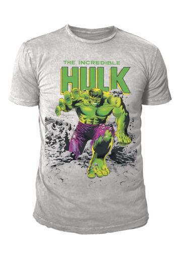 MARVEL COMICS-Hulk Uomo Premium T-SHIRT-Incredebile Creater (GRIGIO) (S-XL)
