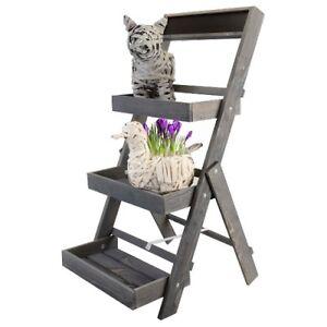 jardini res jardin tag re plateau pour fleurs escalier de plantes bois ebay. Black Bedroom Furniture Sets. Home Design Ideas