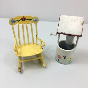 Vintage-Metal-Handmade-Hand-painted-Folk-Art-Rocking-Chair-And-Well