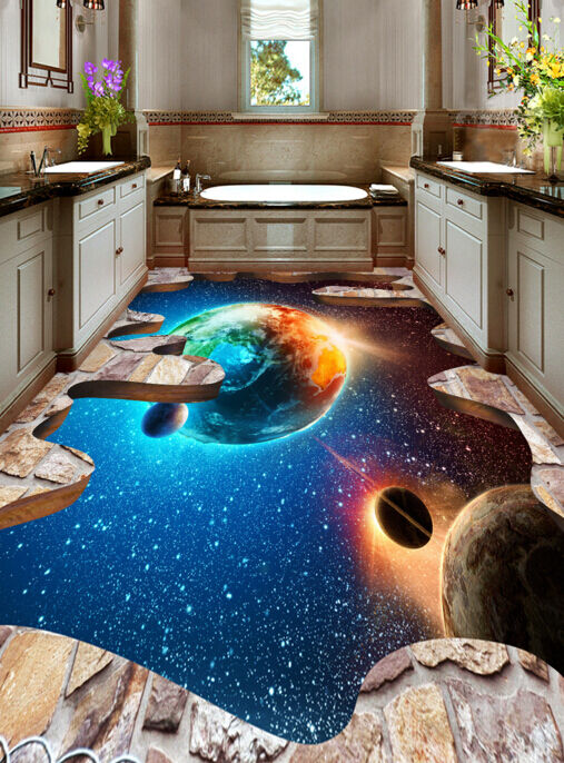 3D Star Planet 586 Floor WallPaper Murals Wallpaper Mural Print AJ AU Lemon