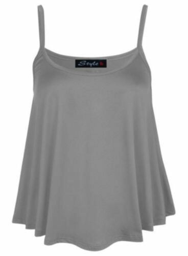 New Women/'s Cami Sleeveless Strappy Swing Vest Printed Flared Top All sizes