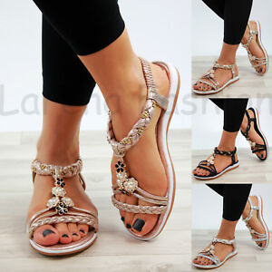 0d42b58b36b36 Image is loading New-Womens-Summer-Sandals-Embellished-Slingback-Slip-On-