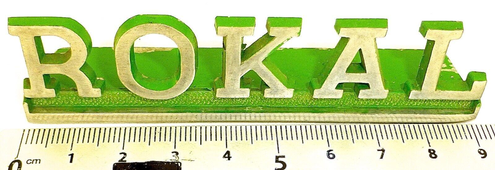Rokal Deco Palabra Metal Cartel Publicitario ca 9cm 1960er 1970er Años Å