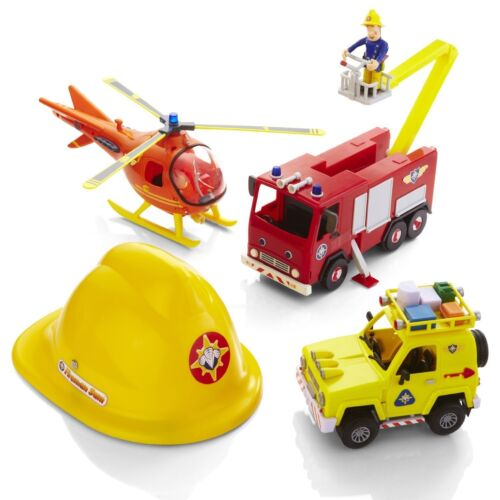 Fireman Sam vechicles Playset figures tête casquée Helicopter fire engine Jupiter Toy