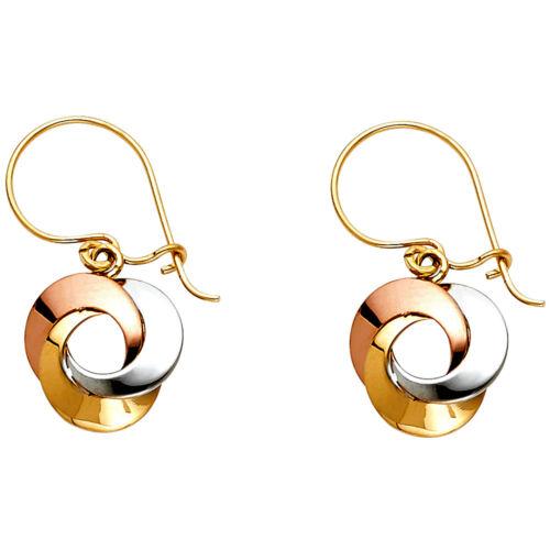 Women Real 14k Tri Tone Gold Polish Love Triple Flower Earrings Dangle Hanging