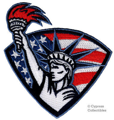 STATUE OF LIBERTY iron-on PATCH embroidered PATRIOTIC USA AMERICAN FLAG EMBLEM