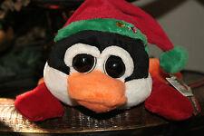 """New GOFFA Plush PENGUIN w/ BIG Head EYES Santa Hat Bling Floppy 11"""" NWT Toy A1"""