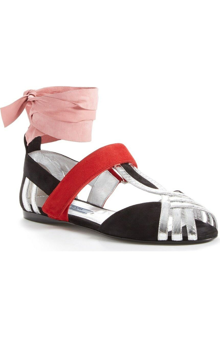 Prada Black Silver Leather Ballet Flats Ballerina Ankle Wrap Sandals shoes 36.5