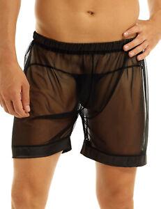 Mens Shorts See Through Boxer Briefs Sheer Mesh Loose Lounge Underwear Shorts