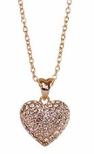 Swarovski Elements Crystal Puffed Heart Pendant Necklace 18K Gold Plated 7121z