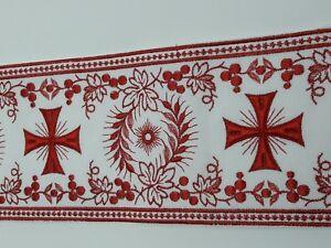 Orphrey-Vintage-Cruz-Rojo-Encendido-Blanco-Vestment-Lazo-11-4cm-Ancho-0-9m-C-258
