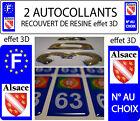 2 STICKERS RECOUVERTE DE RESINE PLAQUE D IMMATRICULATION DEPART AU CHOIX ALSACE