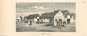 Stables-Ecuries-Cuisines-Casernes-Soldats-Namur-GRAVURE-ANTIQUE-OLD-PRINT-1880
