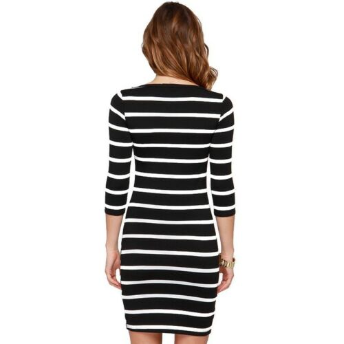 Minikleid Business Büro Kleid figurbetont Streifen Tunika 3//4 Ärmel NEU BC387