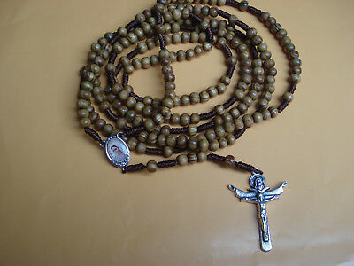 20 Decade Brown Wood Beads Rosary Holy Rosary of Sacred Mysteries+Gift Holy Card