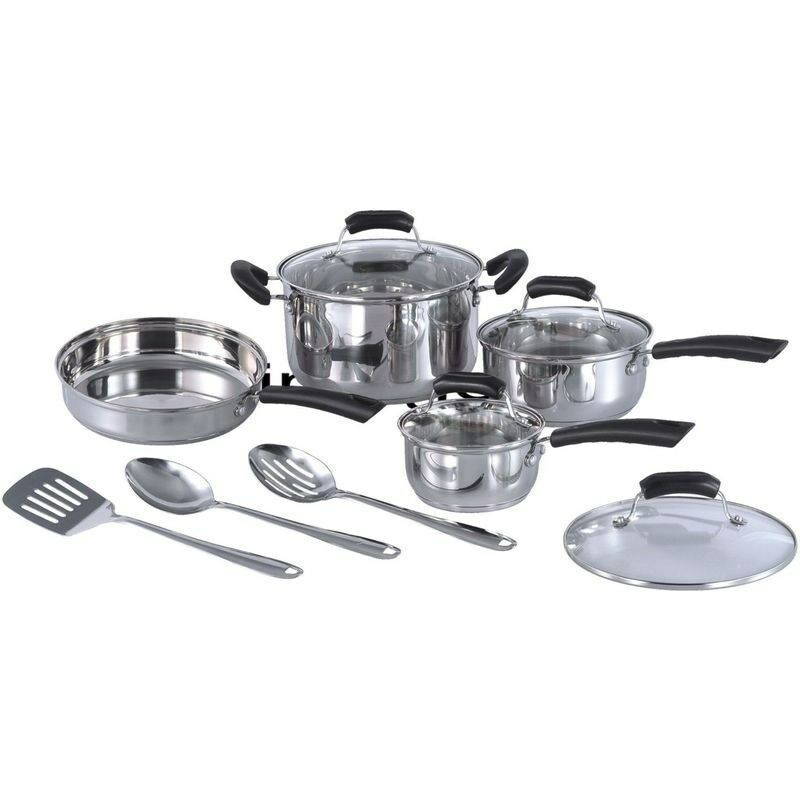 Stainless Steel Induction Ready 11 Piece Cookware Set, Cook Top Sauce Pots Pans