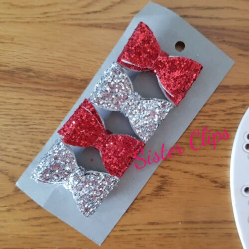 Girls Handmade 4 baby//toddler red and silver  Glitter Hair Bow clips