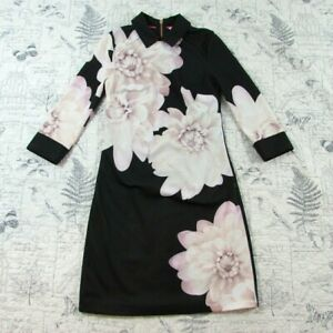 EUC-Ted-Baker-London-Kida-3-4-sleeve-sew-in-love-Sheath-Dress-in-Black-Pink-0